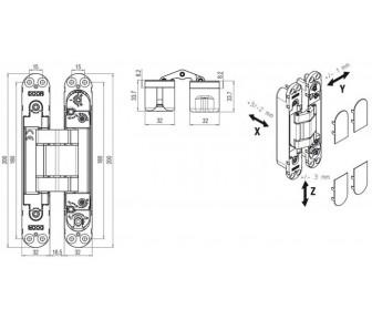 Дверная петля скрытая Krona Koblenz Kubi7 K7120