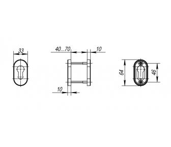 Накладка под цилиндр 004PZ INOX DP-C-09/DSS-02P-ET
