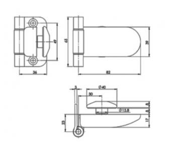 Петля FL-65 JHO для стеклянных дверей в сауну