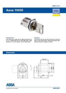 ASSA camlock 10450 product sheet